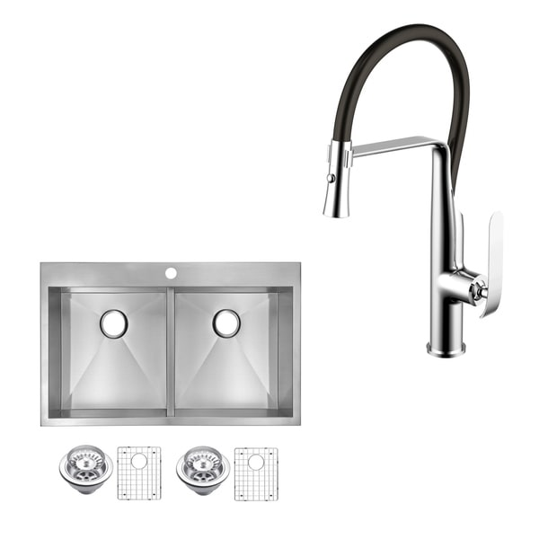 Shop Stainless Steel Drop In 33 Double Bowl Kitchen Sink Faucet Kit