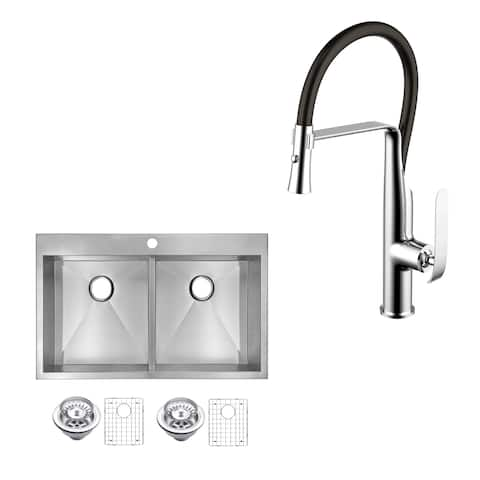 """Stainless Steel Drop In 33"""" Double Bowl Kitchen Sink/Faucet Kit"""