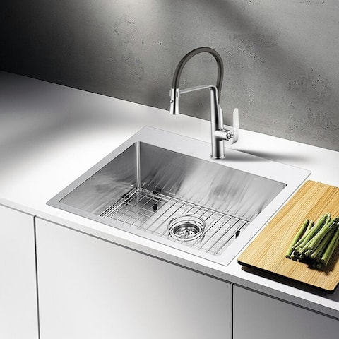 """Stainless Steel Drop In 25"""" Single Bowl Kitchen Sink/Faucet Kit"""