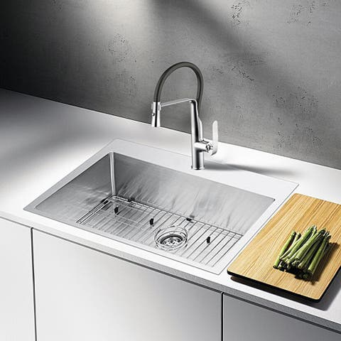 """Stainless Steel Drop In 33"""" Single Bowl Kitchen Sink/Faucet Kit"""