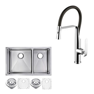 "Stainless Steel Under Mount 32"" Double Bowl Kitchen Sink/Faucet Kit"