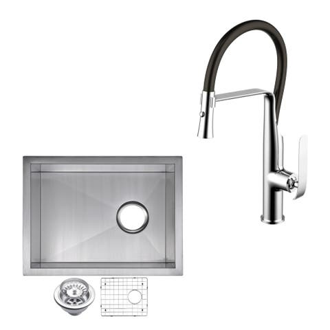 "Stainless Steel Under Mount 15"" Single Bowl Kitchen Sink/Faucet Kit"