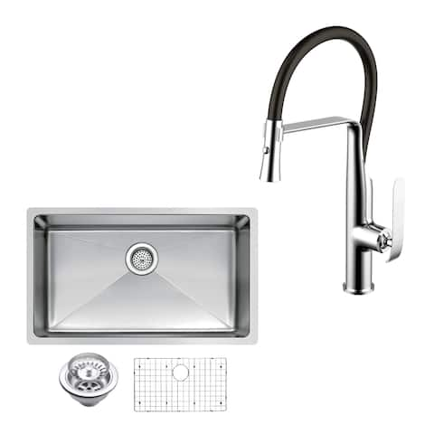 "Stainless Steel Under Mount 30"" Single Bowl Kitchen Sink/Faucet Kit"