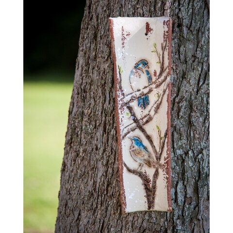 Handpainted Roof Tile with Bluebirds