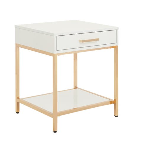Silver Orchid Evans Glossy White End Table