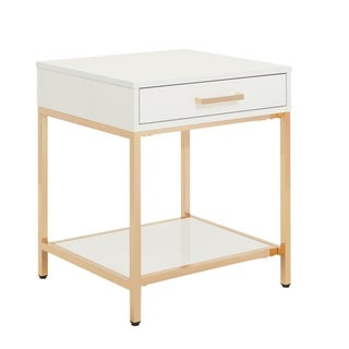 OSP Designs Alios End Table in White Gloss with Gold Chrome Plated Base