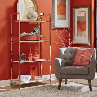 OSP Designs Alios Bookcase in White Gloss with Gold Chrome Plated Base
