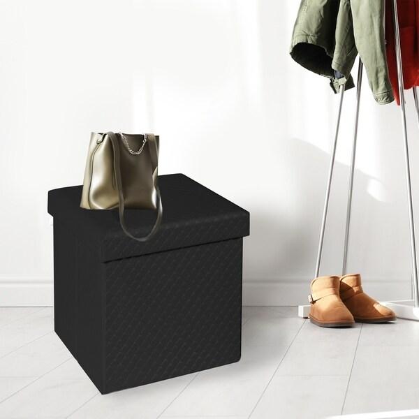Shop Seville Classics Faux Leather Quilted Foldable Storage Ottoman ... 01ec191c4354d