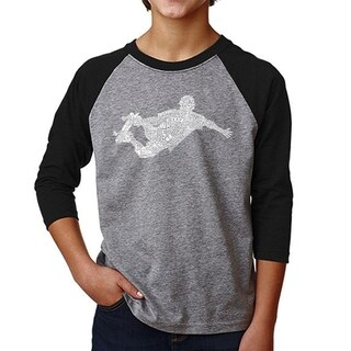 LA Pop Art Boy's Raglan Baseball Word Art T-shirt-POPULAR SKATING MOVES & TRICKS