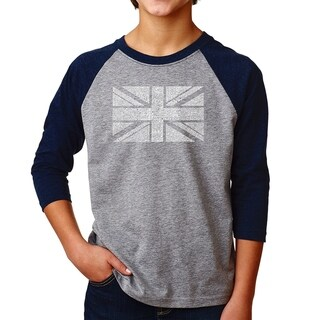 LA Pop Art Boy's Raglan Baseball Word Art T-shirt - UNION JACK