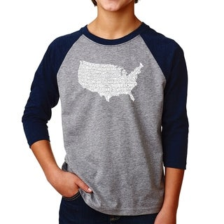 LA Pop Art Boy's Raglan Baseball Word Art T-shirt - THE STAR SPANGLED BANNER