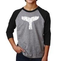 LA Pop Art Boy's Raglan Baseball Word Art T-shirt - SAVE THE WHALES