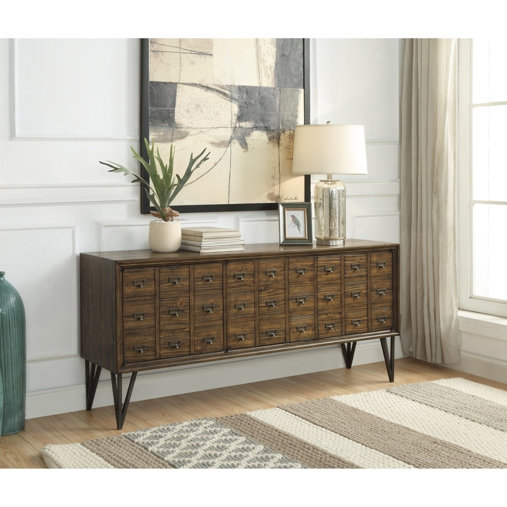 Somette Oxford Distressed Brown Three Door Media Console