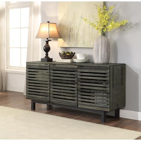 "Somette Heartland Earthy Grey Three Door Media Credenza - 64""W x 18""L x 32""H"