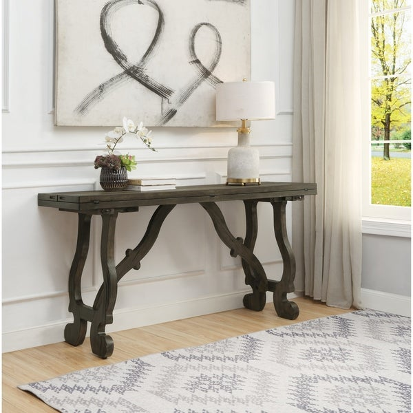 """Somette Orchard Park Brown Fold Out Console - 64""""L x 36""""W x 31""""H"""