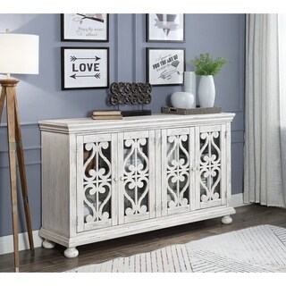 "Somette Orchard Park White Rub Four Door Media Credenza - 64""W x 16""L x 36""H"