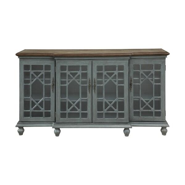 Somette Joplin Textured Grey Four Door Media Credenza 36924681