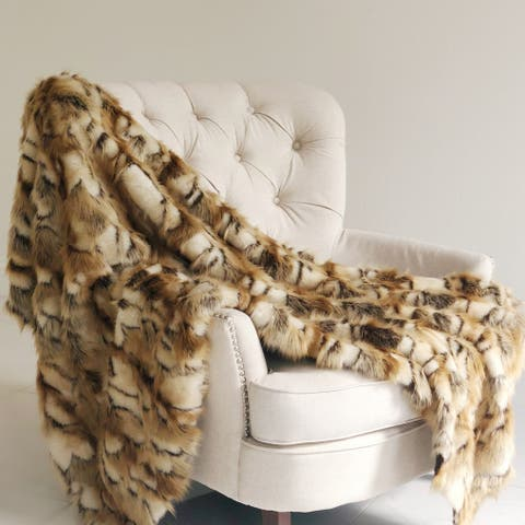 Plutus Brandy Gold and White Faux Fox Handmade Luxury Throw