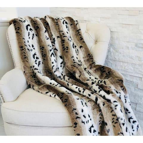Snow Lynx Faux Fur Luxury Throw