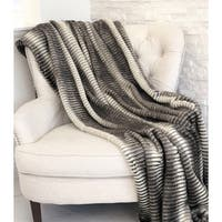 Gray and Taupe Faux Fur Luxury Throw - throw 36w x 60l