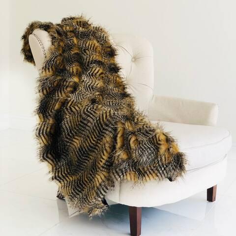 Porcupine Mocha Faux Fur Luxury Throw