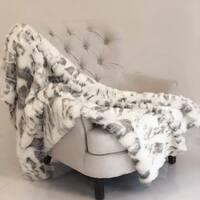 Plutus Ivory Rabbit Faux Fur Handmade Luxury Throw
