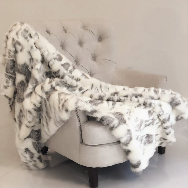 Plutus Ivory Rabbit Faux Fur Handmade Luxury Throw