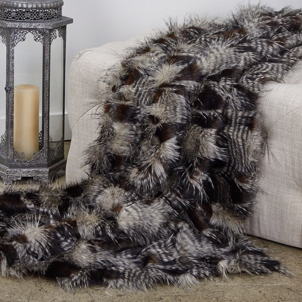 Porcupine Dark Brown and Beige Faux Fur Luxury Throw. Opens flyout.