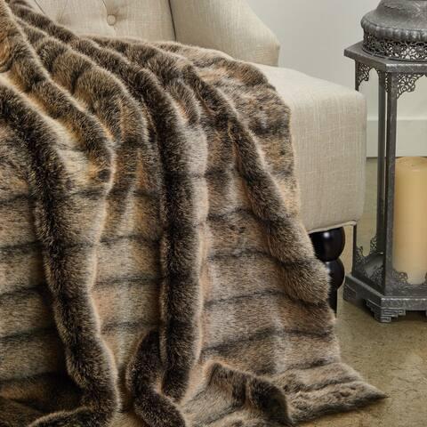 Frost Mink Dark Brown Faux Fur Luxury Throw