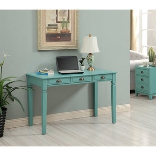 Somette Bayberry Blue Three Drawer Writing Desk with Power