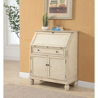Somette Milam Cream Two Door, One Drawer Drop Lid Cabinet with Power
