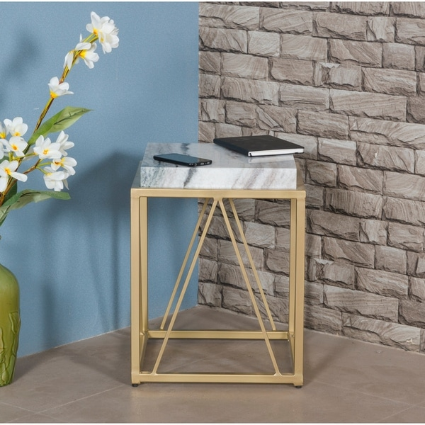 "Somette White and Gold Accent Table - 15.5""L x 15.5""W x 20.5""H"