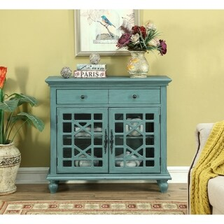 Somette Bayberry Blue Rub-Through Two Drawer Two Door Cupboard