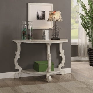 Somette Orchard White Rub Demilune Console Table