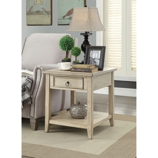 "Somette Garrett Burnished Cream End Table - 22""L x 24""W x 24""H"