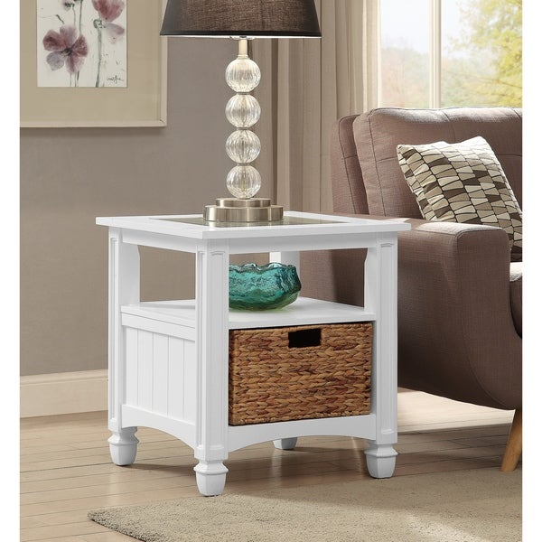 Somette Harbor Towne White End Table
