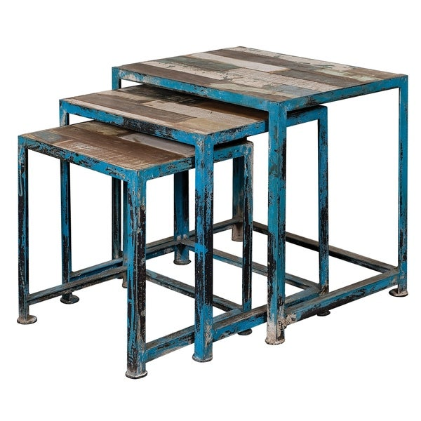 Somette Reclaimed Wood Nesting Tables, Set of 3