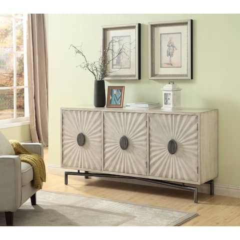 "Somette Dayton Textured Cream Three Door Media Credenza - 68.5""W x 16""L x 34.5""H"
