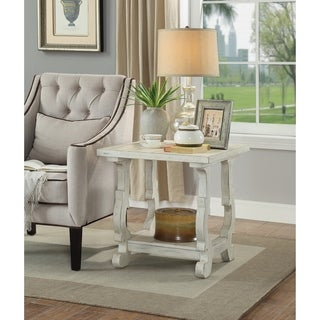 Somette Orchard Park White Rub End Table