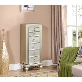 Somette Champagne Dazzle Jewelry Armoire Six Drawer Chest
