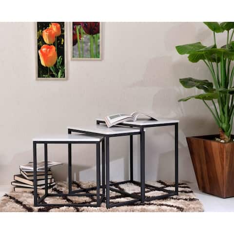 "Somette Ponga Black Nesting Tables, Set of 3 - 23.5""L x 15""W x 24""H - 23.5""L x 15""W x 24""H"