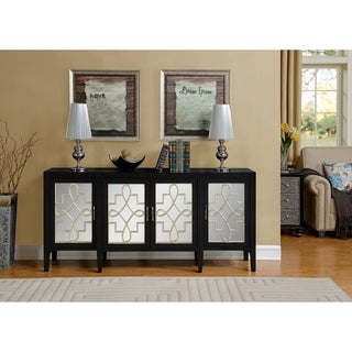 Somette Mansfield Black and Silver Four Door Media Credenza