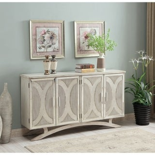 Somette Millicent White and Silver Rub Four Door Media Credenza