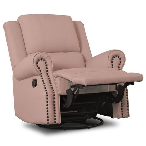 Delta Children Drake Nursery Glider Swivel Recliner, Blush