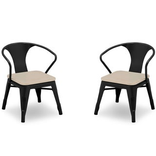 Delta Children Bistro 2-Piece Chair Set, Black with Driftwood