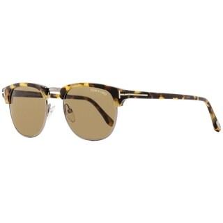 Tom Ford TF248 Henry 55J Unisex Vintage Havana/Ruthenium 53 mm Sunglasses - vintage havana/ruthenium