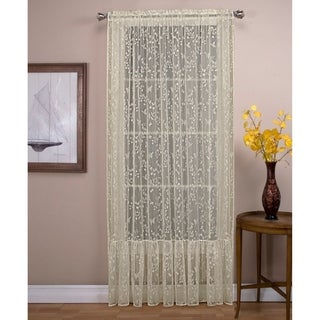 Isabella Lace Panel with a Ruffle Bottom, 54-IN,Soft Light Filtering Butterfly Motif, Rod Pocket Panel Top - 54 x 96