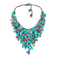 Handmade Synthetic Coral Turquoise Waterfall Bib Necklace (Thailand)