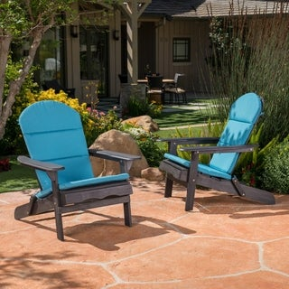 Malibu Outdoor Acacia Wood Dark Grey Adirondack Chairs with Cushions (Set of 2) by Christopher Knight Home (3 options available)