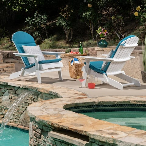 Malibu Outdoor Acacia Wood White Adirondack Chairs with Cushions (Set of 2) by Christopher Knight Home